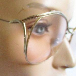 Large Woman's RETRO Eyeglass Frames Brass